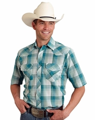Roper Men's Short Sleeve Plaid Snap Shirt - Green
