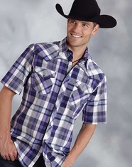 Roper Men's Short Sleeve Plaid Snap Shirt - Purple