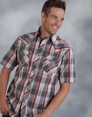 Roper Men's Short Sleeve Plaid Snap Shirt - Red