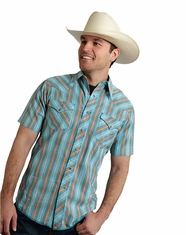 Roper Men's Short Sleeve Striped Snap Shirt - Blue (Closeout)