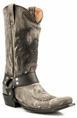 Roper Mens Americana Bald Eagle Harness Boots - Distressed Black