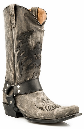 Roper Mens Americana Bald Eagle Harness Boots - Distressed Black (Closeout)