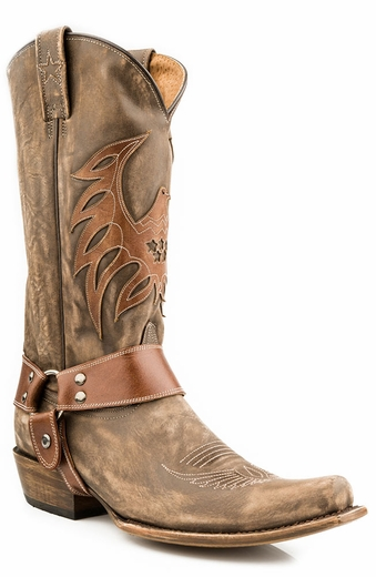 Roper Mens Americana Bald Eagle Harness Boots - Distressed Brown (Closeout)