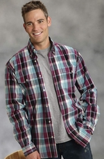 Roper Mens Long Sleeve Button Down Western Shirt - Wine (Closeout)