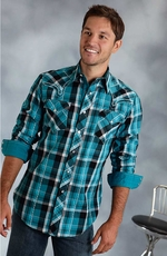 Roper Mens Long Sleeve Embroidered Plaid Snap Western Shirt - Blue