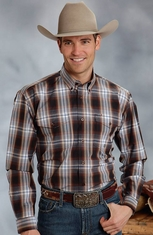 Roper Mens Long Sleeve Plaid Button Down Western Shirt - Brown (Closeout)