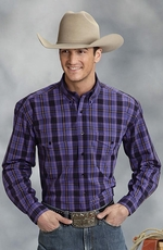 Roper Mens Long Sleeve Plaid Button Down Western Shirt - Purple