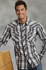 Roper Mens Long Sleeve Plaid Snap Shirt with Heavy Stitch - Black