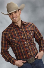 Roper Mens Long Sleeve Plaid Snap Western Shirt - Orange