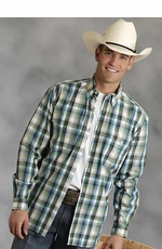 Roper Mens Long Sleeve Plaid Western Button Down Shirt - Green