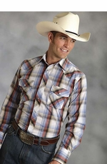 Roper Mens Long Sleeve Plaid Western Snap Shirt