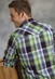 Roper Mens Long Sleeve Plaid Western Snap Shirt - Blue/Green