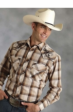 Roper Mens Long Sleeve Plaid Western Snap Shirt - Brown