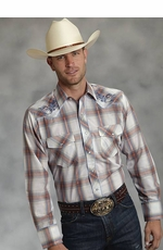 Roper Mens Long Sleeve Plaid Western Snap Shirt with Embroidery - Orange