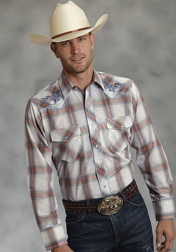 Roper Mens Long Sleeve Plaid Western Snap Shirt with Embroidery - Orange (Closeout)