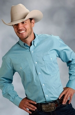 Roper Mens Long Sleeve Solid Button Down Western Shirt - Teal