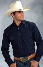 Roper Mens Long Sleeve Solid Embroidered Western Snap Shirt - Navy