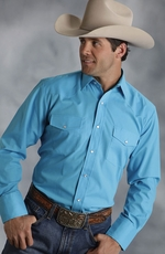 Roper Mens Long Sleeve Solid Snap Western Shirt - Turquoise