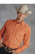 Roper Mens Long Sleeve Solid Western Snap Shirt - Orange