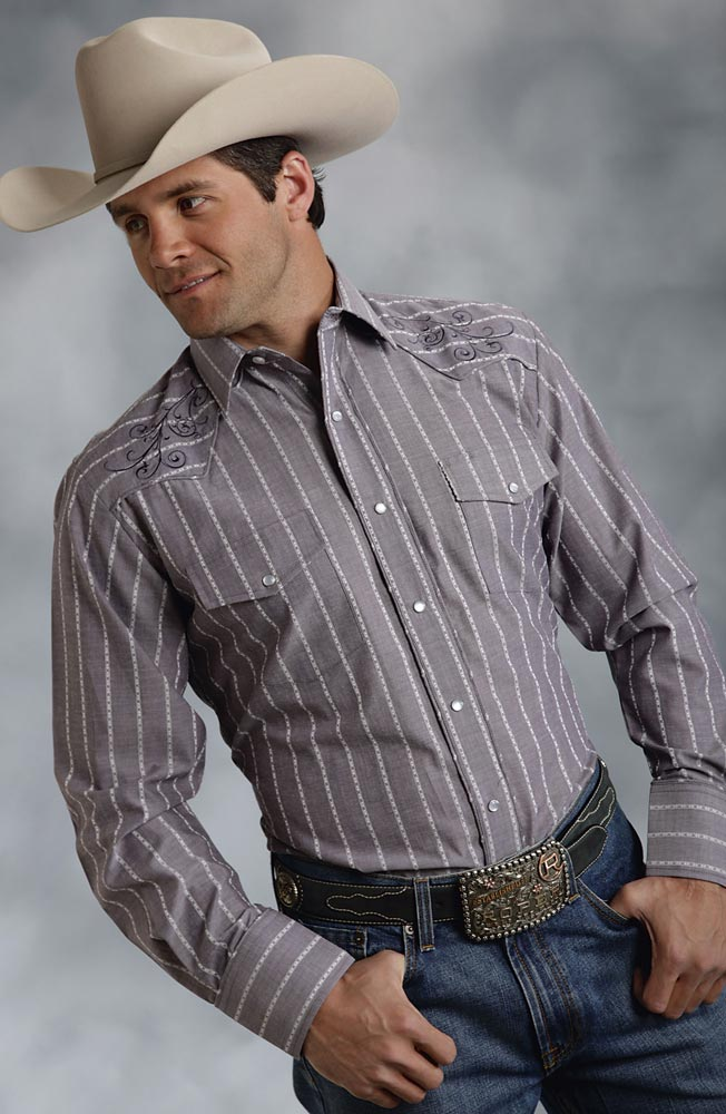 Roper Mens Long Sleeve Stripe Snap Western Shirt - Grey (Closeout)