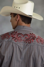 Roper Mens Long Sleeve Stripe Western Shirt with Embroidery - Grey (Closeout)