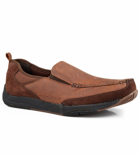 Roper Mens Slip On Casual Shoes - Brown
