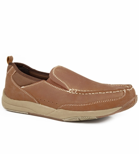 Roper Mens Slip On Casual Shoes - Tan
