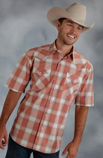 Roper Mens Short Sleeve Plaid Button Down Western Shirt - Orange
