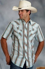 Roper Mens Short Sleeve Plaid Stripe Snap Western Shirt - Blue