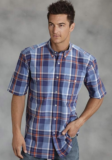 Roper Mens Short Sleeve Plaid Western Button Down Shirt - Blue (Closeout)