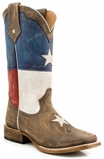 Roper Mens Texas Star Square Toe Cowboy Boots (Closeout)