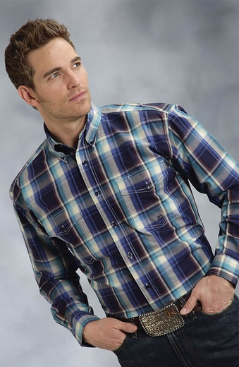Roper Mens Long Sleeve Plaid Button Down Western Shirt - Blue