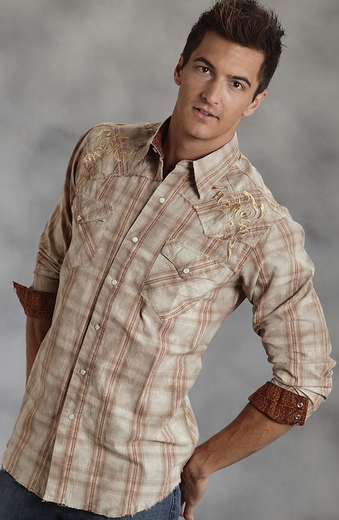 Roper Mens Long Sleeve Plaid Snap Western Shirt with Embroidery - Brown