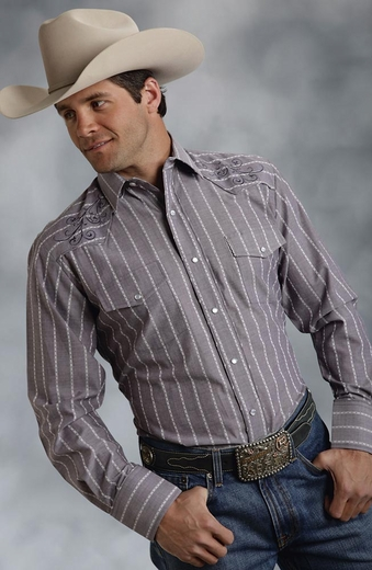 Roper Mens Long Sleeve Stripe Snap Western Shirt - Grey
