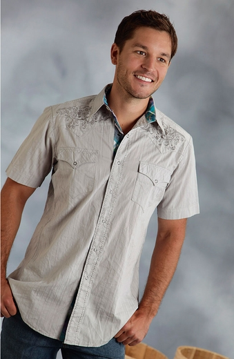 Roper Mens Short Sleeve Embroidered Snap Western Shirt - Grey