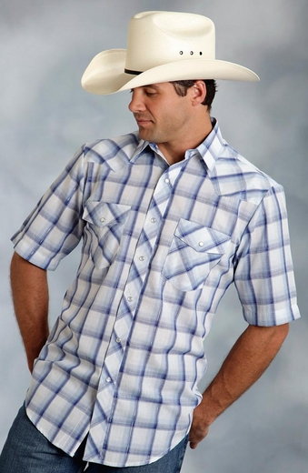 Roper Mens Short Sleeve Plaid Snap Western Shirt - Blue
