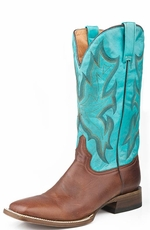 Roper Mens Western Wide Square Toe Cowboy Boots - Tan/Raindrop (Closeout)