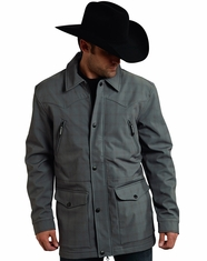 Roper Rangewear Men's Fleece Lined Plaid Softshell Barn Jacket - Grey (Closeout)