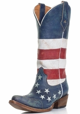 Roper Women's American Flag Snip Toe Cowboy Boots - Distressed Red, White and Blue