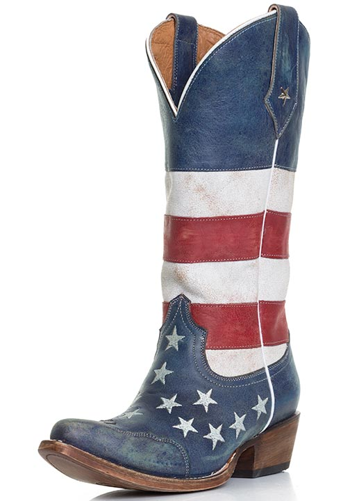 Roper Women&39s American Flag Snip Toe Cowboy Boots - Distressed Red