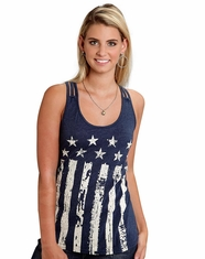 Roper Women's Flag Tank Top - Navy (Closeout)