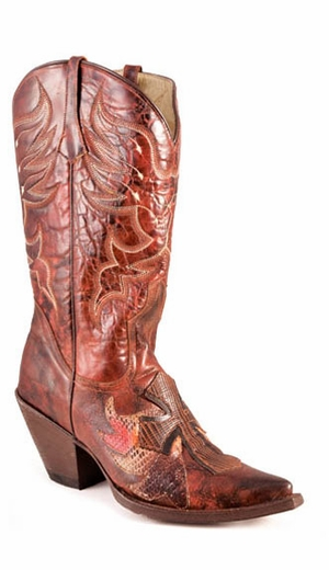 Roper Women's Handmade Winged Cross Boots - Brown (Closeout)