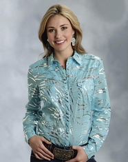 Roper Women's Long Sleeve Metallic Tiger Snap Shirt - Turquoise