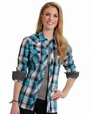Roper Women's Long Sleeve Plaid Snap Shirt - Blue