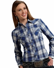 Roper Women's Long Sleeve Plaid Snap Shirt - Blue (Closeout)