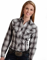 Roper Women's Long Sleeve Plaid Snap Shirt - Grey (Closeout)