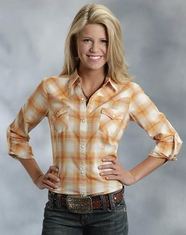 Roper Women's Long Sleeve Plaid Snap Shirt - Orange