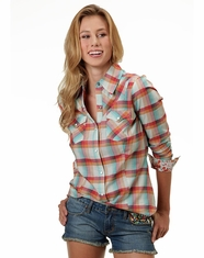 Roper Women's Long Sleeve Plaid Snap Shirt - Turquoise