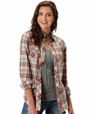 Roper Women's Long Sleeve Plaid Western Snap Shirt - Orange