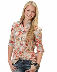 Roper Women's Long Sleeve Print Snap Shirt - Red (Closeout)